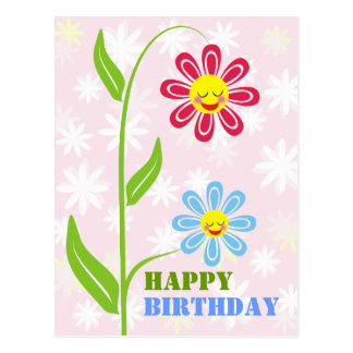 Happy Flowers Happy Birthday Postcards