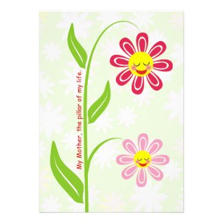 Happy flowers Mother's Day custom flat card Personalized Invitations