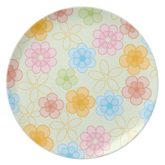 Happy Flowers Pattern Party Plate