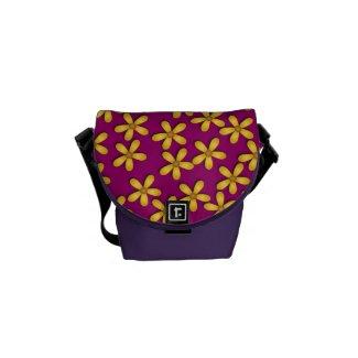 Happy Flowers Purple Mini Messenger Bag