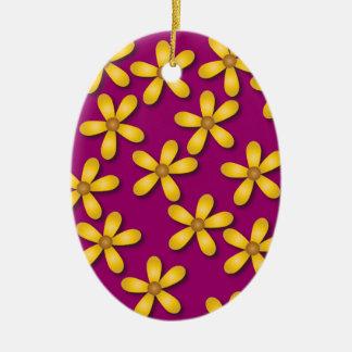 Happy Flowers Purple Oval Ornament