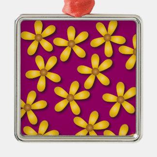 Happy Flowers Purple Square Ornament