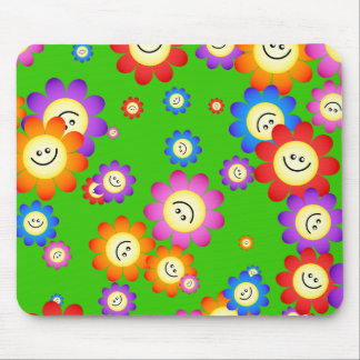 Happy Flowers Wallpaper Mouse Pad
