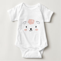 Happy Fluffy Pink Baby Sheep Face Baby Bodysuit