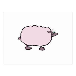 happy fluffy sheep post card
