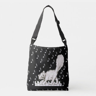 Happy Fluffy Tail White Cat Dancing on Piano Keys Crossbody Bag