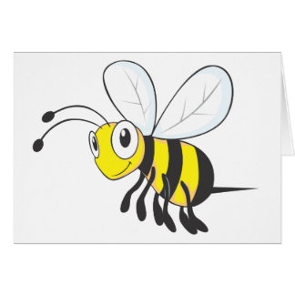 Happy Flying Bee Insect Greeting Card