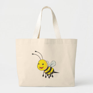 Happy Flying Bee Insect Large Tote Bag