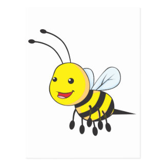 Happy Flying Bee Insect Postcard