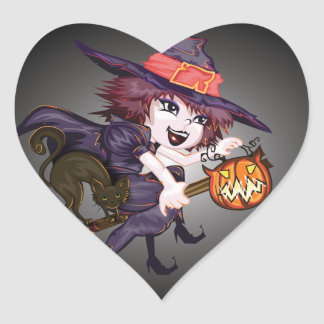 Happy Flying Halloween Witch Heart Sticker