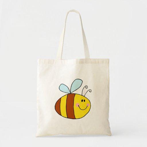 happy flying honeybee honey bee cartoon budget tote bag
