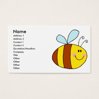 happy flying honeybee honey bee cartoon business card