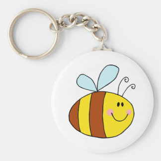 happy flying honeybee honey bee cartoon keychain