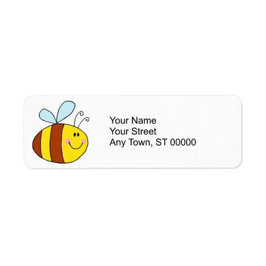 happy flying honeybee honey bee cartoon label