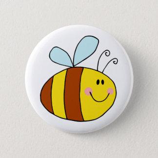 happy flying honeybee honey bee cartoon pinback button