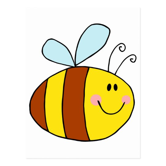 happy flying honeybee honey bee cartoon postcard