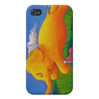 Happy flying yellow elephant wins the race fun art cover for iPhone 4