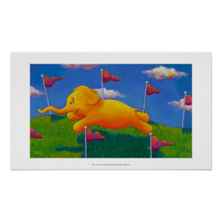 Happy flying yellow elephant wins the race fun art poster