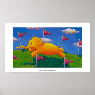 Happy flying yellow elephant wins the race fun art poster