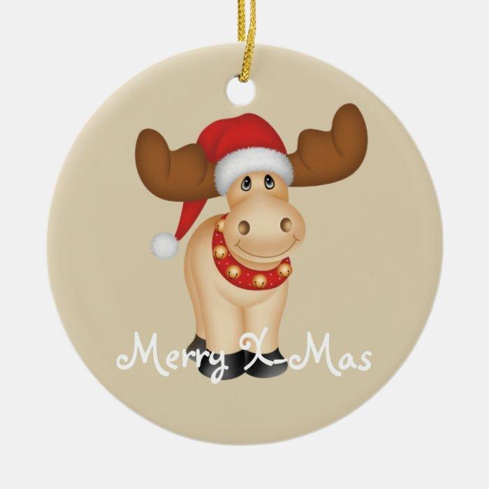 Happy Folkart Reindeer Ceramic Ornament