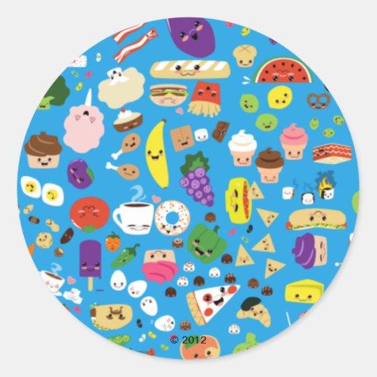Happy Food Classic Round Sticker