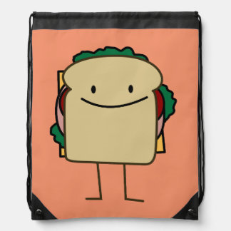 Happy Foods Smiling Sandwich Drawstring Backpack