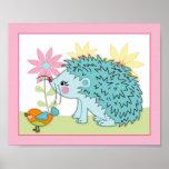 Happy Forest - Hedgehog bird Nursey/Baby Art Print Print