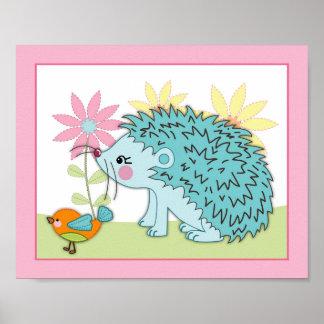 Happy Forest - Hedgehog bird Nursey Baby Art Print Print