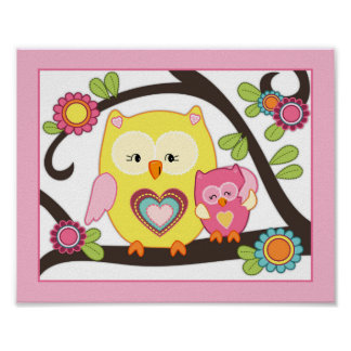Happy Forest - Pink Owl Nursey Baby Art Print Poster
