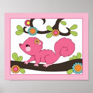Happy Forest - Pink Squirrel Nursey/Baby Art Print
