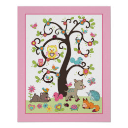 Happy Forest - Tree with Animals Nursey Art Print