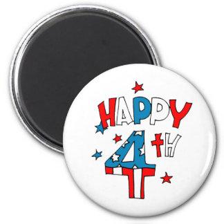 Happy Fourth 2 Inch Round Magnet