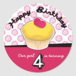 Happy Fourth (4th) Birthday Cupcake Stickers!