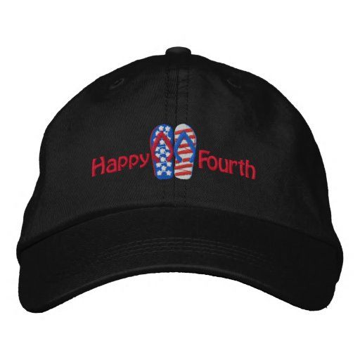 Happy Fourth Flip Flop Embroiderd Cap