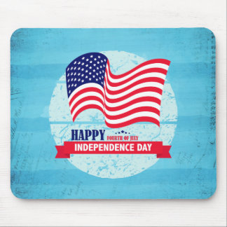 Happy Fourth of July American Flag Illustration Mouse Pad
