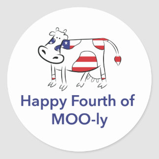 Happy Fourth of July - Cow Classic Round Sticker