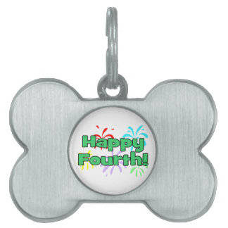 Happy Fourth Of July Fireworks Pet ID Tag