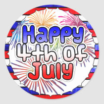 Happy Fourth of July Fireworks Stickers