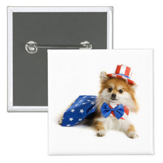 Happy Fourth of July Puppy Pinback Button