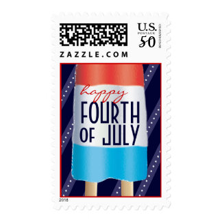 Happy Fourth of July Red White Blue Bombpop Treat Postage