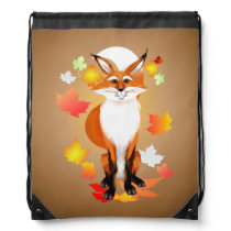 Happy Fox in Fall Drawstring Bag