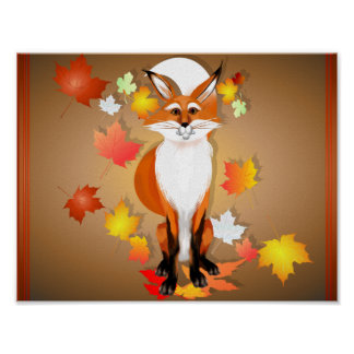 Happy Fox in Fall Poster