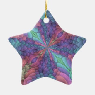 Happy Fractal Flower Double-Sided Star Ceramic Christmas Ornament