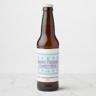 Happy Freakin Christmas, Funny Holiday Beer Bottle Label