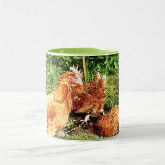Happy Free range ex-battery chickens Two-Tone Coffee Mug