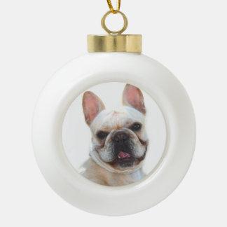 Happy French Bulldog dog Ceramic Ball Christmas Ornament