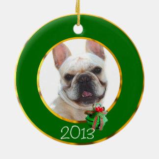 Happy French Bulldog dog Ceramic Ornament