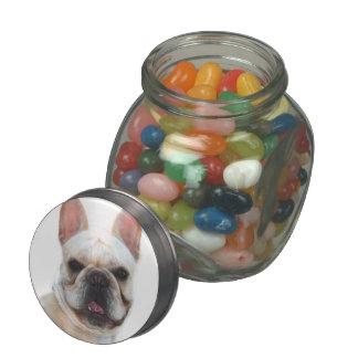 Happy French Bulldog dog Glass Candy Jar