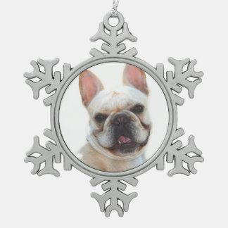 Happy French Bulldog dog Snowflake Pewter Christmas Ornament
