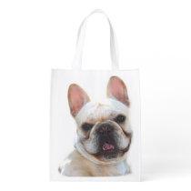 Happy French Bulldog Grocery Bag